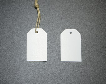 100pcs Luggage Hang Tags, White Card, Blank Merchandise Tags, Price Tags, Includes Free 32ft Jute Strings in a Bobbin #SD-S7774