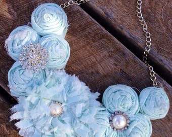 Bridal fabric necklace, fabric flowers necklace, fabruc necklace