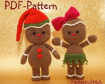 Crochet pattern gingerbread man christmas amigurumi PDF 26 pages