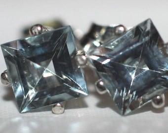 Handmade Genuine Princess Blue Aquamarine 5mm. Earrings in Sterling Silver