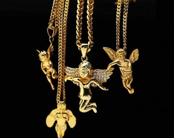 24K Gold Plated Cupid Guardian Angel Cherub Angel Baby Charm Iced Out cz Pendant Cuban Chain Hiphop lovers Golden Micro Angel Necklace