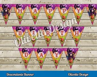Descendants Birthday Banner - Instant Download - DIY, Digital - Printable Descendants Banner