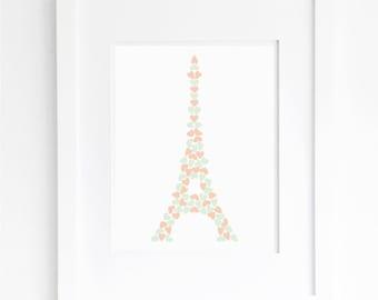 peach and mint nursery eiffel tower printable paris french theme girls room pastel wall art decor poster digital print instant download jpg