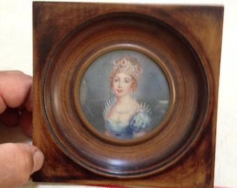 Minature painting of a princess in orginal frame