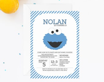 Cookie Monster Invitation | Cookie Monster Invite | Sesame Street Invitation | Sesame Street Birthday Party | Cookie Monster Birthday Party