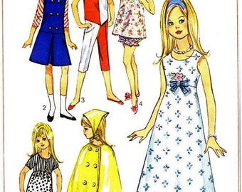 Vintage 1960's Skipper / Lil Sister Doll Clothes Pattern