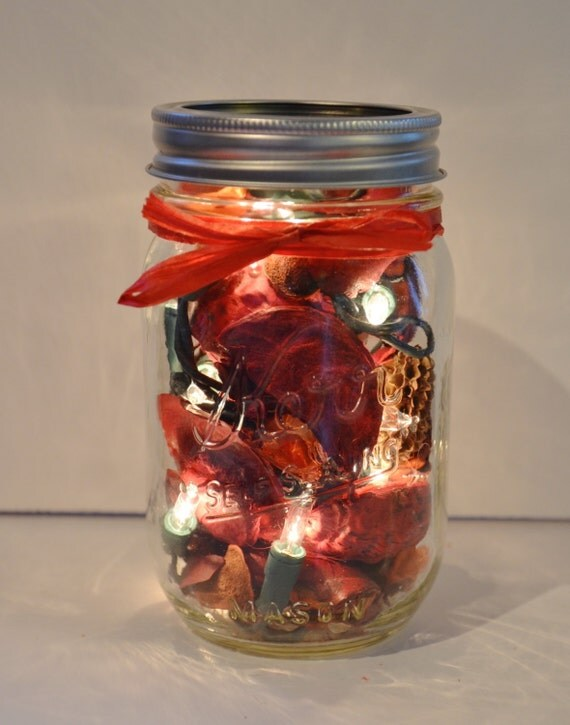 mason jar lamp with christmas lights