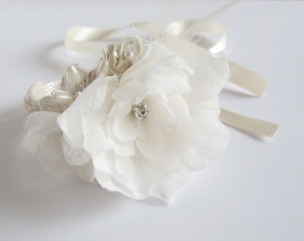 Small silk flower wrist cuff with ivory lace and ribbon tie