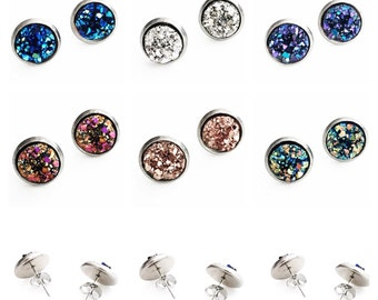HYPOALLERGENIC EARRINGS Faux Druzy Earrings 10mm MEDIUM Stud Earrings (Surgical Stainless Steel)