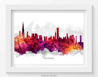 Chicago Illinois Skyline Poster, Chicago Cityscape, Chicago Art, Chicago Decor,  Home Decor, Gift Idea 14
