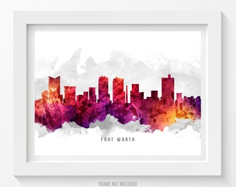 Fort Worth Skyline Poster, Fort Worth Cityscape, Fort Worth Print, Fort Worth Art, Fort Worth Decor, Home Decor, Gift Idea 14