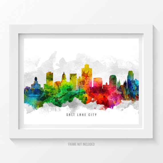 Salt Lake City Utah Skyline Poster Salt Lake City Art Salt