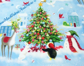 One Frosty Christmas scenic fabric~RJR~trees~animals~birds~by the yard~1135