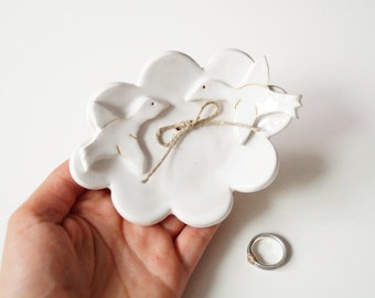 Wedding Ring Dish, Bird Plate, Cloud Shaped Plate, Ceramic Ring Holder, Wedding Ring Pillow, Jewelry Holder, Ceramics and Pottery