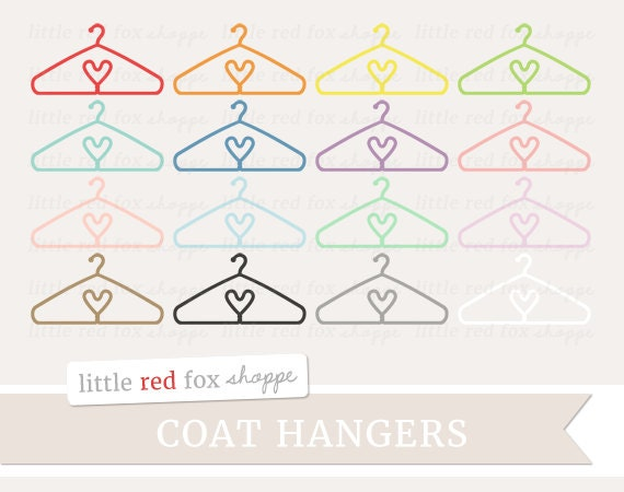 Heart Coat Hanger Clipart Laundry Clip Art Clothes Clothing Shirt Onesie Closet Storage Cute Digital Graphic Design Small Commercial Use