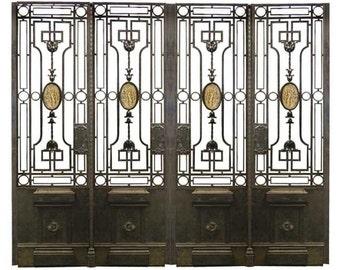 65.5904 Antique 19th C. Quadruple Panel Iron Gate