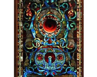 7556 Antique Stained Glass of Jewels & Circles Attr: John LaFarge