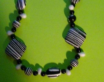 Black and White Zebra Necklace