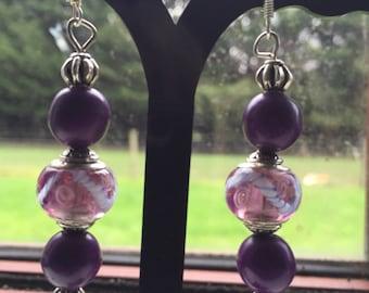 Purple Murano glass bead earrings