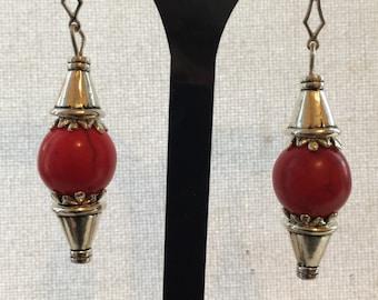 Red Gemstone and Tibetan silver Earrings