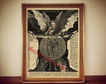 Lucifer by Cornelis Galle,1595   Satan Devil   print illustration poster   occult antique vintage home decor  132