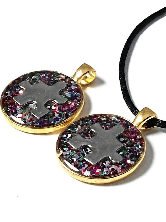 autism necklace autism jewelry puzzle necklace by genevassky