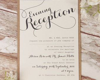 Rustic Flower Wedding Evening Invitation with Personalisation + Envelopes