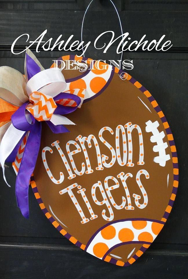 Clemson Tigers Inspired Football Door Hanger Door Decoration