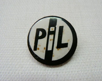 Vintage Early 80s Public Image Ltd / PIL / Black and White Logo Pin / Button / Badge