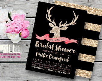 Gold Baby Shower Invitation - Pink and Black Baby Shower Invitation - Gold Glitter Deer Invitation - Girl Baby Shower - PRINTABLE INVITE
