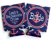 Nautical Anchor Huggers. Personalized Nautical Bachelorette or Birthday Coolies. Nautical Party Favors. Nautical Wedding Shower Huggers!