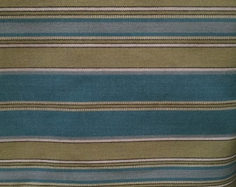 Turquoise and Green Upholstery Stripe Up The Roll - Upholstery Fabric By The Yard