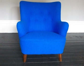 Vintage 1940s Danish Armchair, Re Upholstered in Pure New Wool
