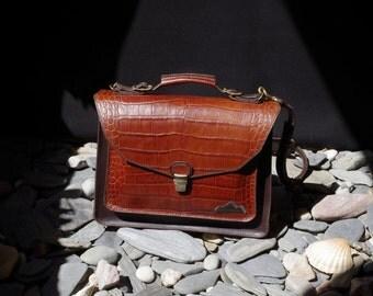 schoolbag, briefcase, messenger, satchel, computer bag, brown crocodile printed leather