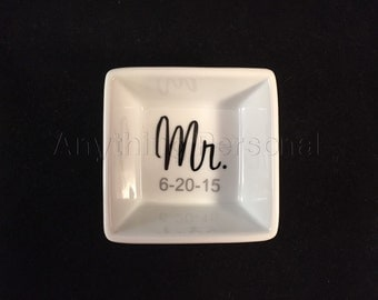 Mr. Ring Dish, Groom Ring Dish, Personalized Gift, Ring Dish, Porcelain Dish, Trinket Dish, Personalized Ring Dish, Groom, Wedding Dish