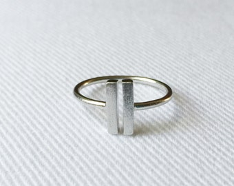 925 Sterling Silver Double Bar Ring