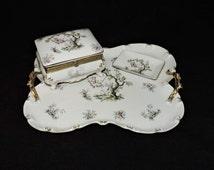 Vintage 1940's Victorian Porcelain Dresser Box, Tray & Coin Dish