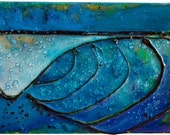 """Acrylic Poured Painting """"Small Wave Pour Ten"""" 06 x 09 x 1.5 Inches - Original, Handmade, Ready to Hang, Surf Art"""
