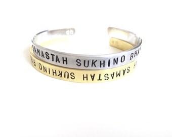 Lokah Samastah Sukhino Bhavantu Cuff. Yoga Jewelry