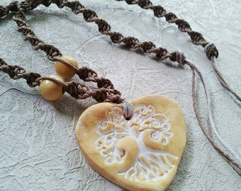 Tree of Life macrame hemp necklace with wood beads