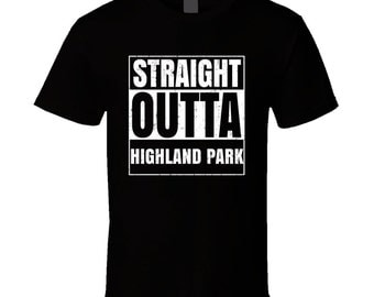 Straight Outta Highland Park Illinois City Compton Parody Grunge T Shirt