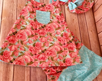 Classic Baby Sundress, Baby Girl Reversible Sundress Set, Open Back Baby Dress, Summer Dress and Hat, Teal Baby Dress Set