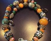 Serengeti Safari-African Copal Amber Necklace, Jade & Turquoise Necklace, Turkoman Kazakh beads,Batik Bone Beads, King Venetian Trade Beads