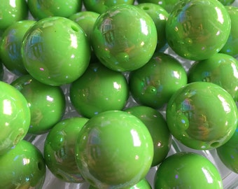Lime Neon Green AB 20mm Beads- 10pc Chunky Bubblegum Beads