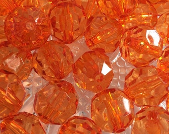 Orange 20mm Transparent Beads- 10pc Chunky Bubblegum Beads