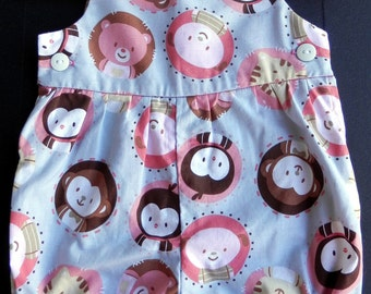 Grey Infant Romper with Pink and Brown Animals - Size 3 mos.