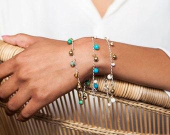 Green Gemstone Charm Bracelet/friendship bracelet/minimalist/stacking bracelet