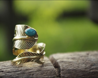 Choose the stone! Feather ring. Bronze with stone ring. Turquoise, green Onyx, labradorite. Tribal jewelry.