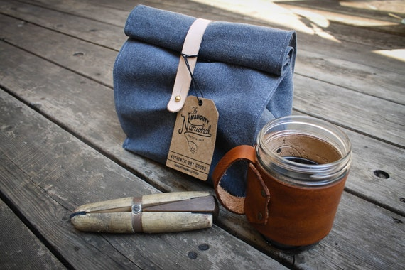 Waxed Canvas and Leather Roll Top Reusable Lunch Bag - Cadet Blue Grey color - Leather Detail - Fall - Gift for him - Birthday present