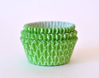 Lime Green Cupcake Liners // Lime Green Quatrefoil Baking Cups (Qty 50)